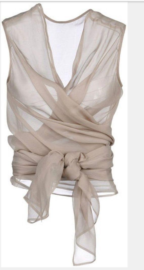 cc083ead7aff21 Rebecca Danenberg wrap silk chiffon by luxecouturevintage on Etsy