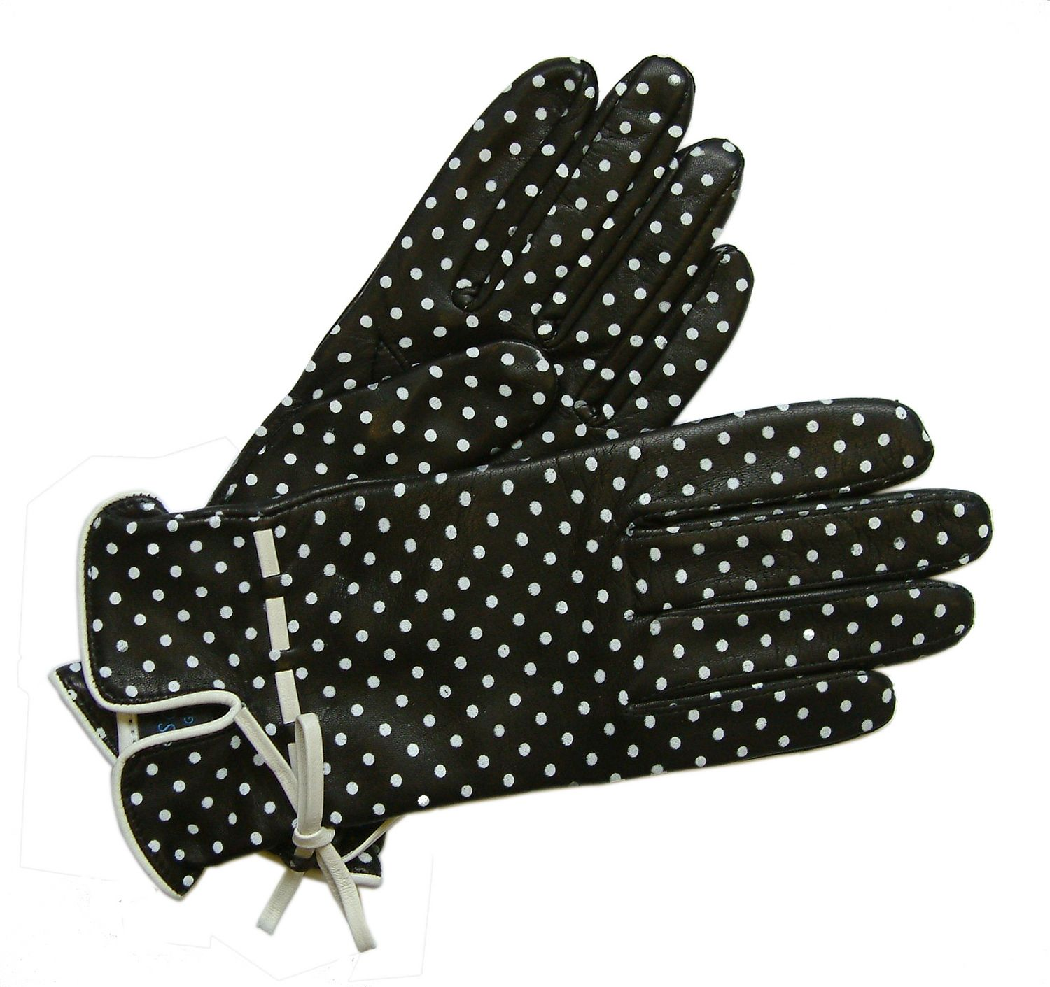 Blue leather gloves ladies uk - Womens Silk Lined Polka Dot Black Leather Glove From Southcombe Gloves