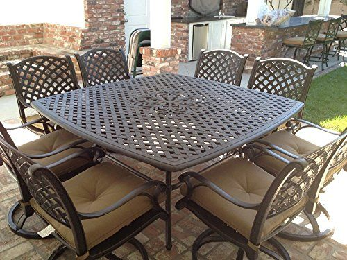 Nassau Cast Aluminum Powder Coated 8 Person Patio Dining Set With