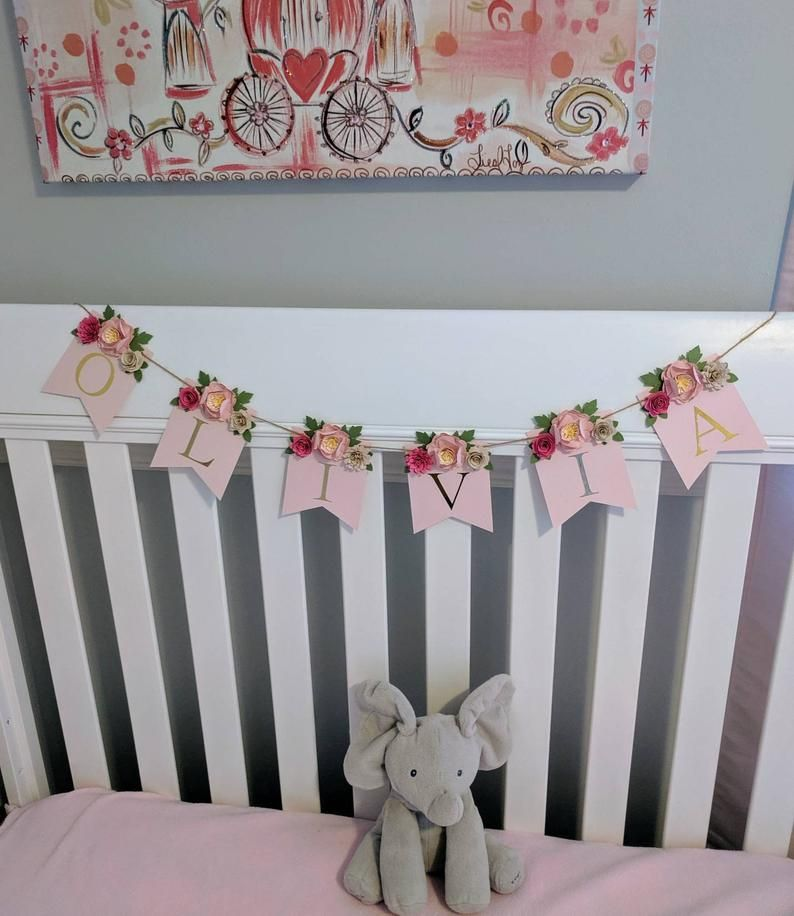 Personalized paper flower garland with blush peonies, Pink paper flower backdrop, Shabby chic wedding flower wall, Just married banner