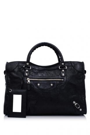 Balenciaga Giant City  Color: Black (Designer Color)  Material: Vintage Crafted Lambskin Leather, Cotton Canvas