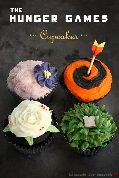 Hunger Games Cupcakes. Clockwise from upper left: Effie Trinket, Katniss Everdeen, Peeta Mellark (that's a slice of bread on the green), and President Snow. (via Diamonds for Dessert)