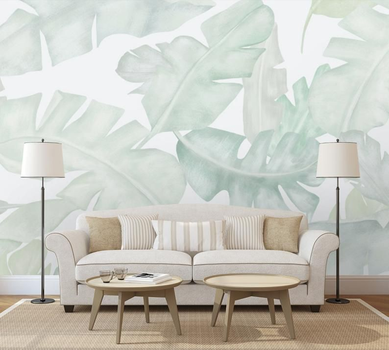 Soft Tropical Wallpaper Vintage Palm And Banana Leaves Wall Etsy In 2021 Tropical Wallpaper Wallpapers Vintage Living Room Murals