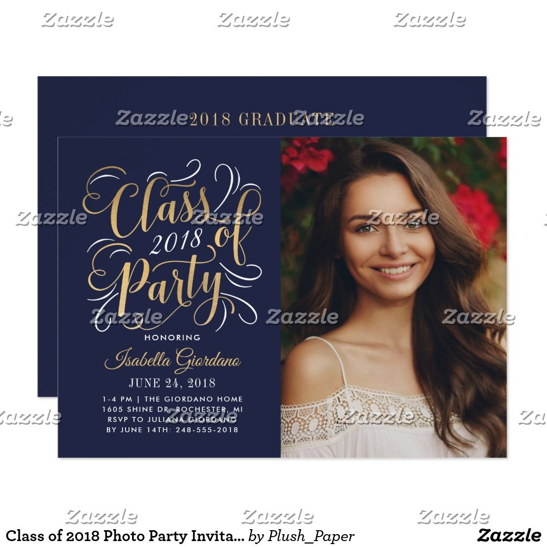 class of 2018 photo party invitation gold in 2018 congrats
