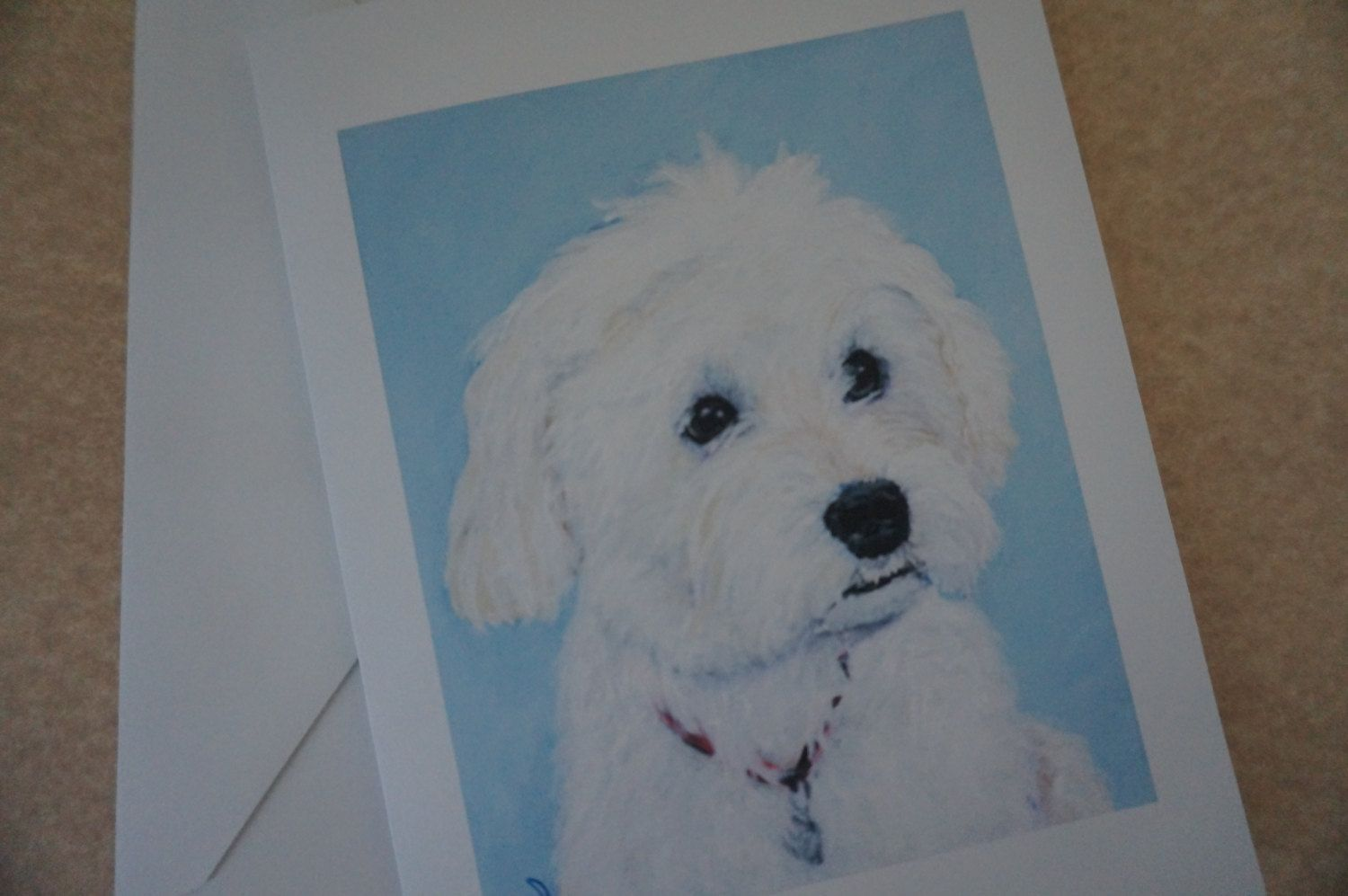 5 Blank Note Cards Maltese Poodle Malti Poo White Dog Greeting