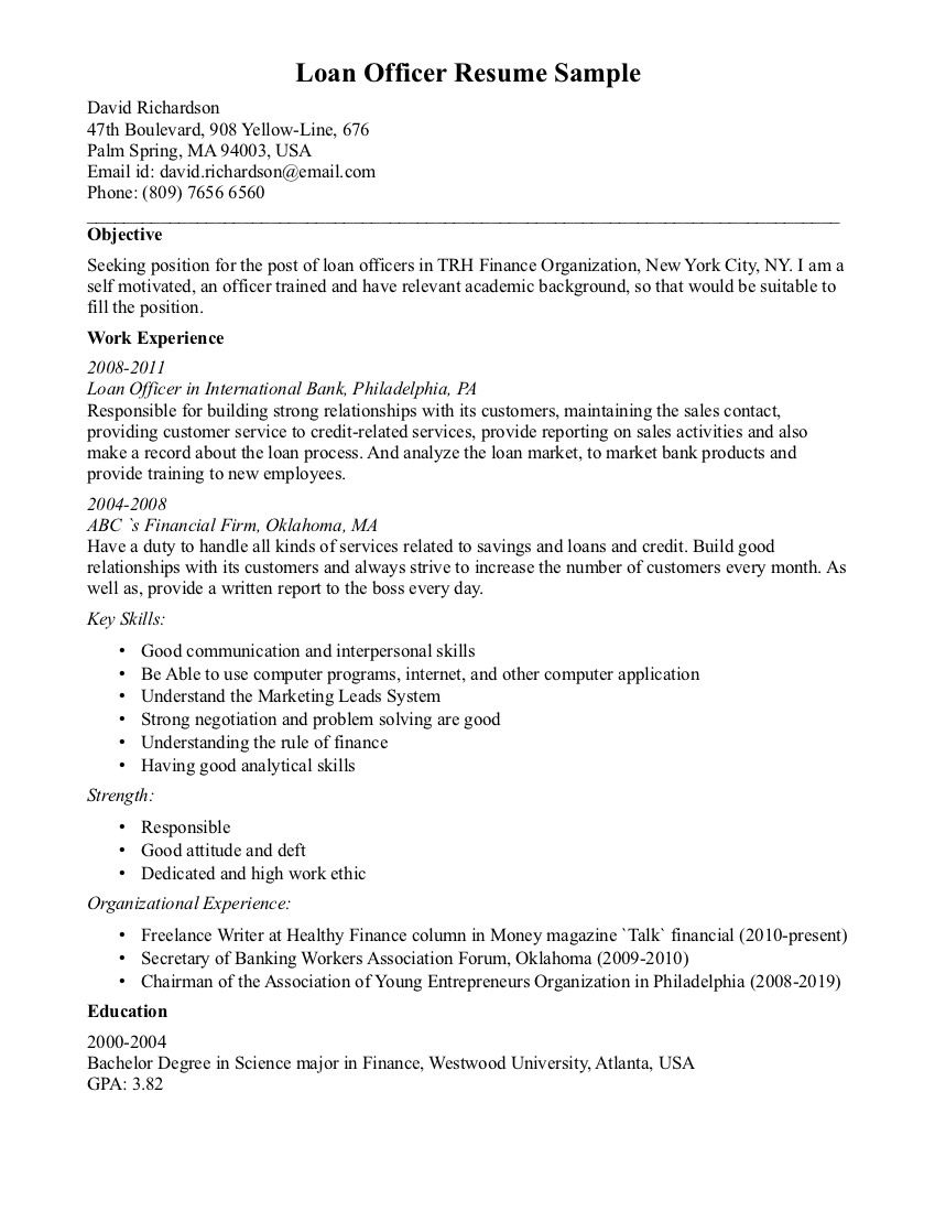 Loan Officer Sample Resume Resume template examples