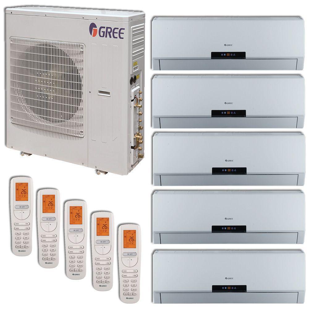 Gree 42 000 Btu Multi21 Penta Zone Wall Mount Mini Split Air Conditioner Heat Pump 208 230v Seer 21 9 9 9 9 9 Ductless Air Conditioner Ductless Mini Split Heating And Air Conditioning