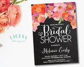 Chalkboard Bridal Shower Invitation, Floral Shower Invitation, Floral Bridal Shower, Rustic Bridal Shower Invite