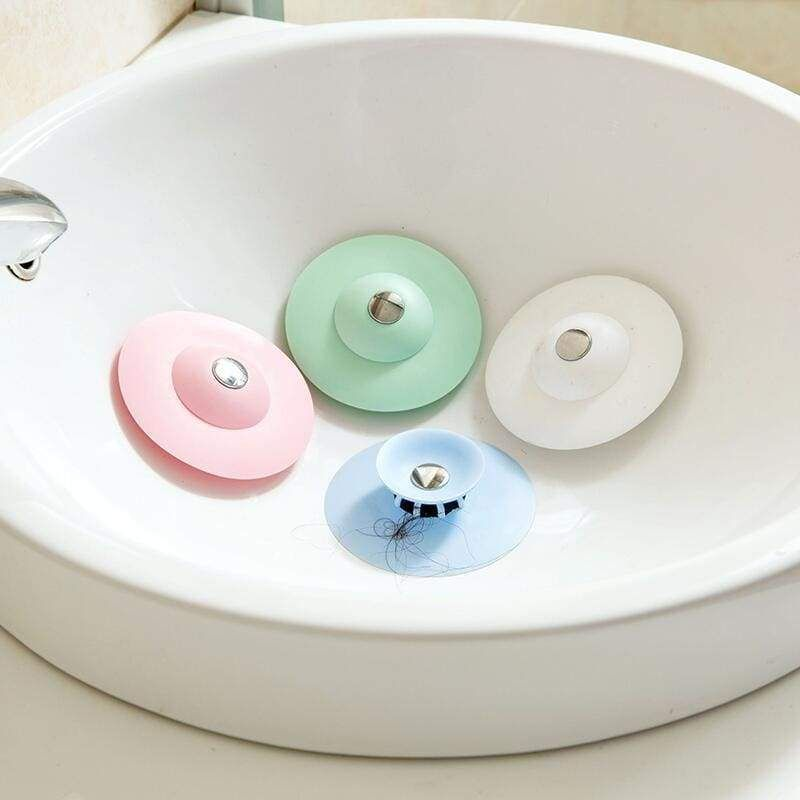 Silicone Sink Drain Plug Kitchen Bath Water Stop Pressing Closed Strainer Cover