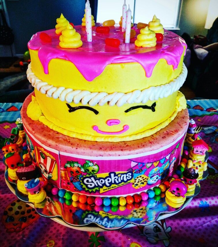 Wishes Shopkins birthday cake Vanilla cake with whipped strawberry