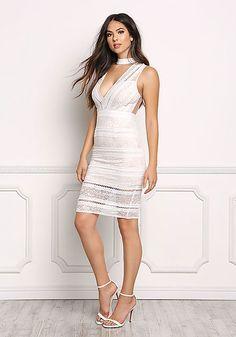 3b1e6e1a314 White Embroidered Lace Choker Dress - Love Culture
