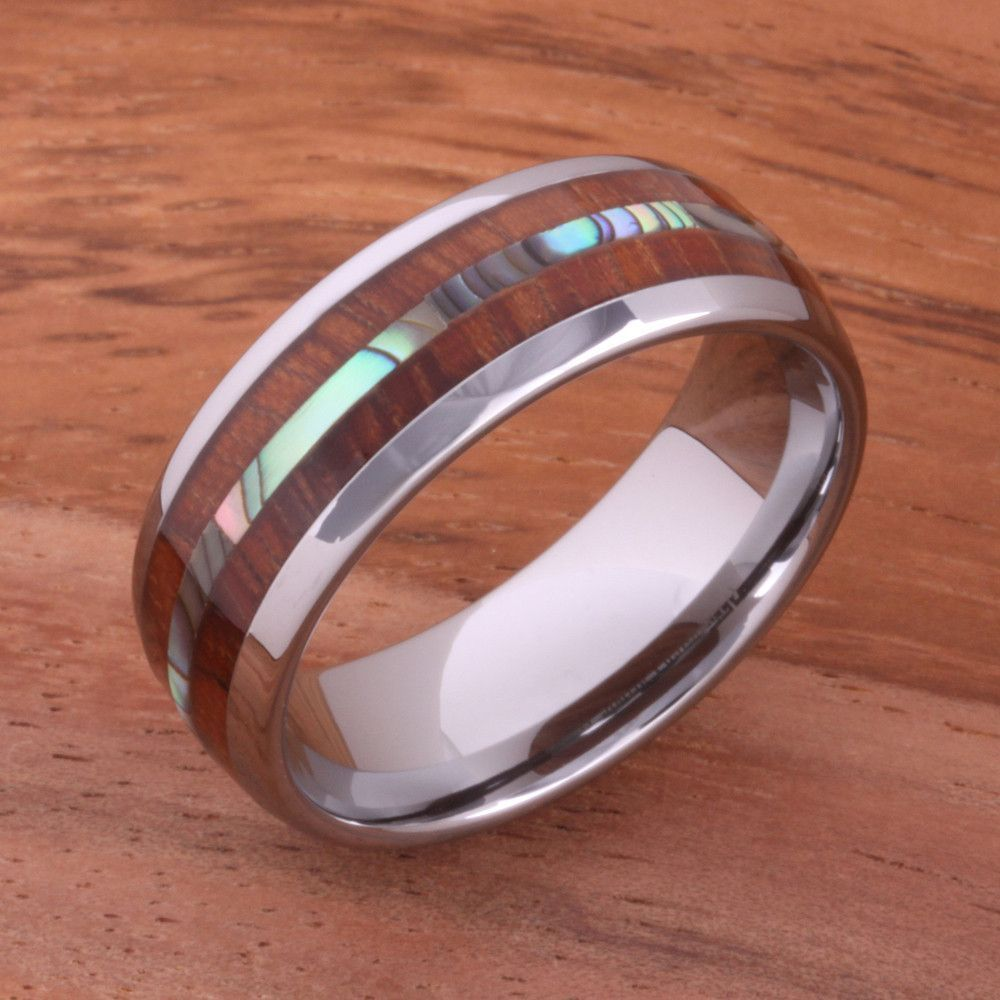 Koa wood abalone tungsten two tone wedding ring central abalone mm