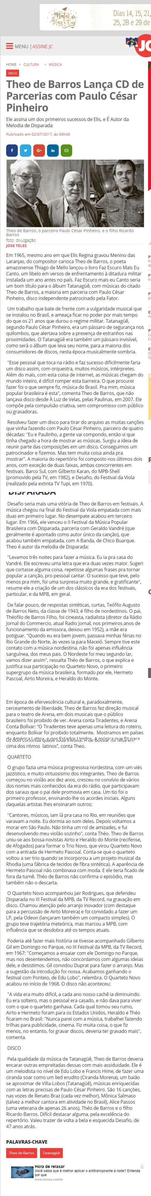 Theo De Barros Jornal Do Comércio Assessoria De Imprensa Iara Imprensa