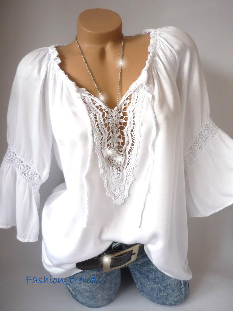 d7ddaacd3e767e Italy Vintage Häkel Spitze Tunika Bluse Shirt Top Lagenlook*Weiß*M L XL-38