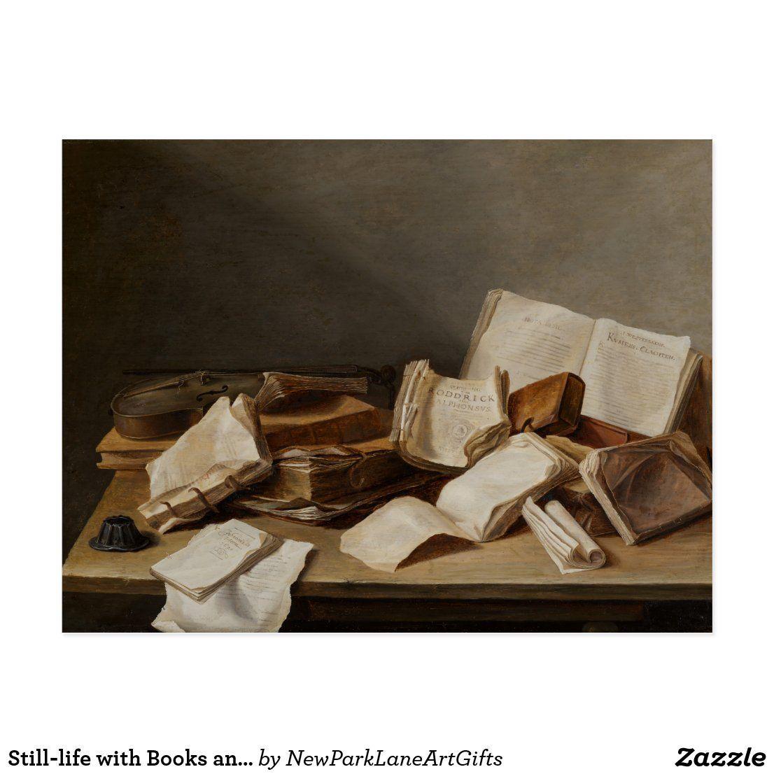 Still-life with Books and a Violin – Fine Art Postcard