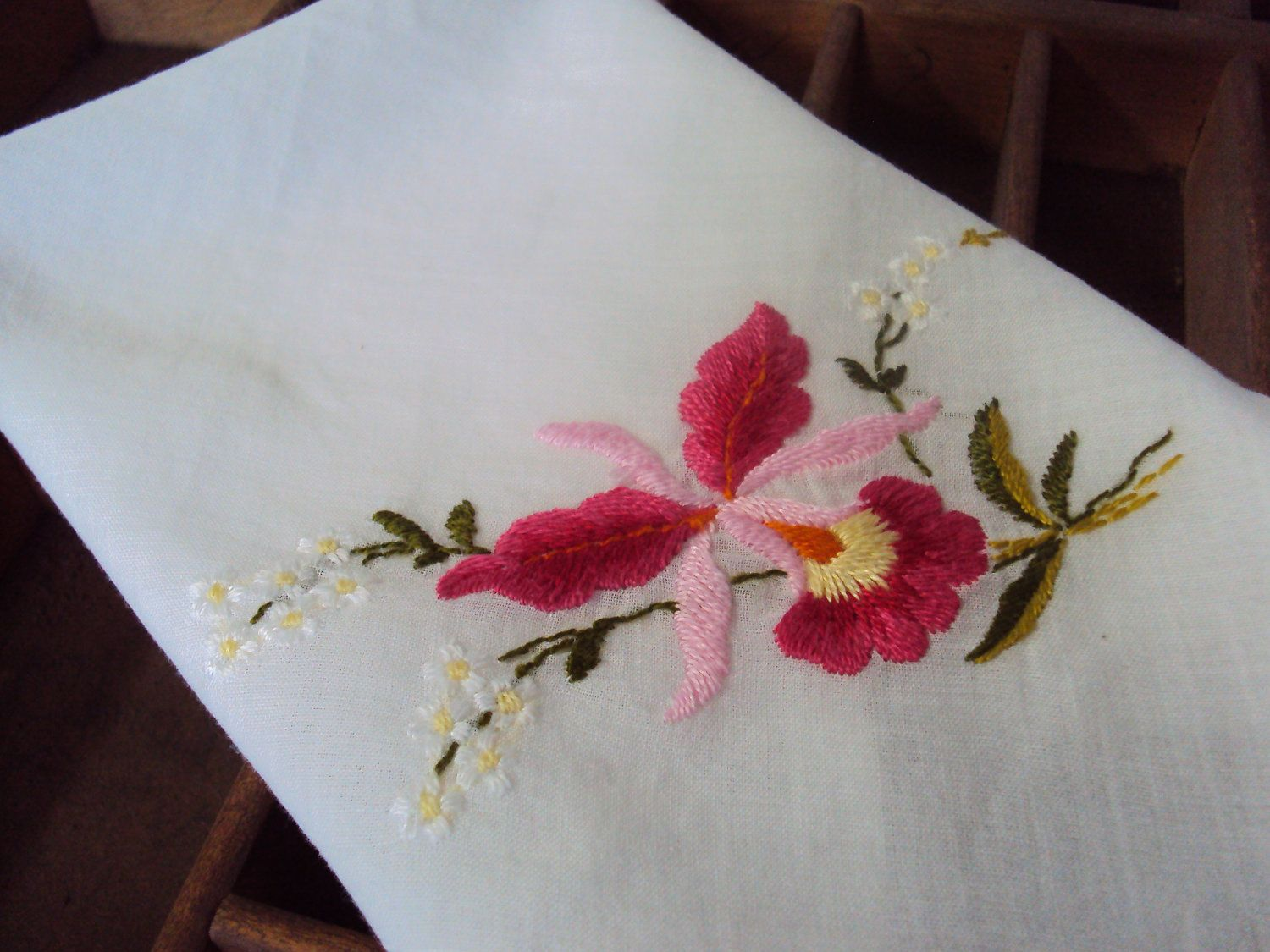 Vintage Embroidered Orchid Hankerchief