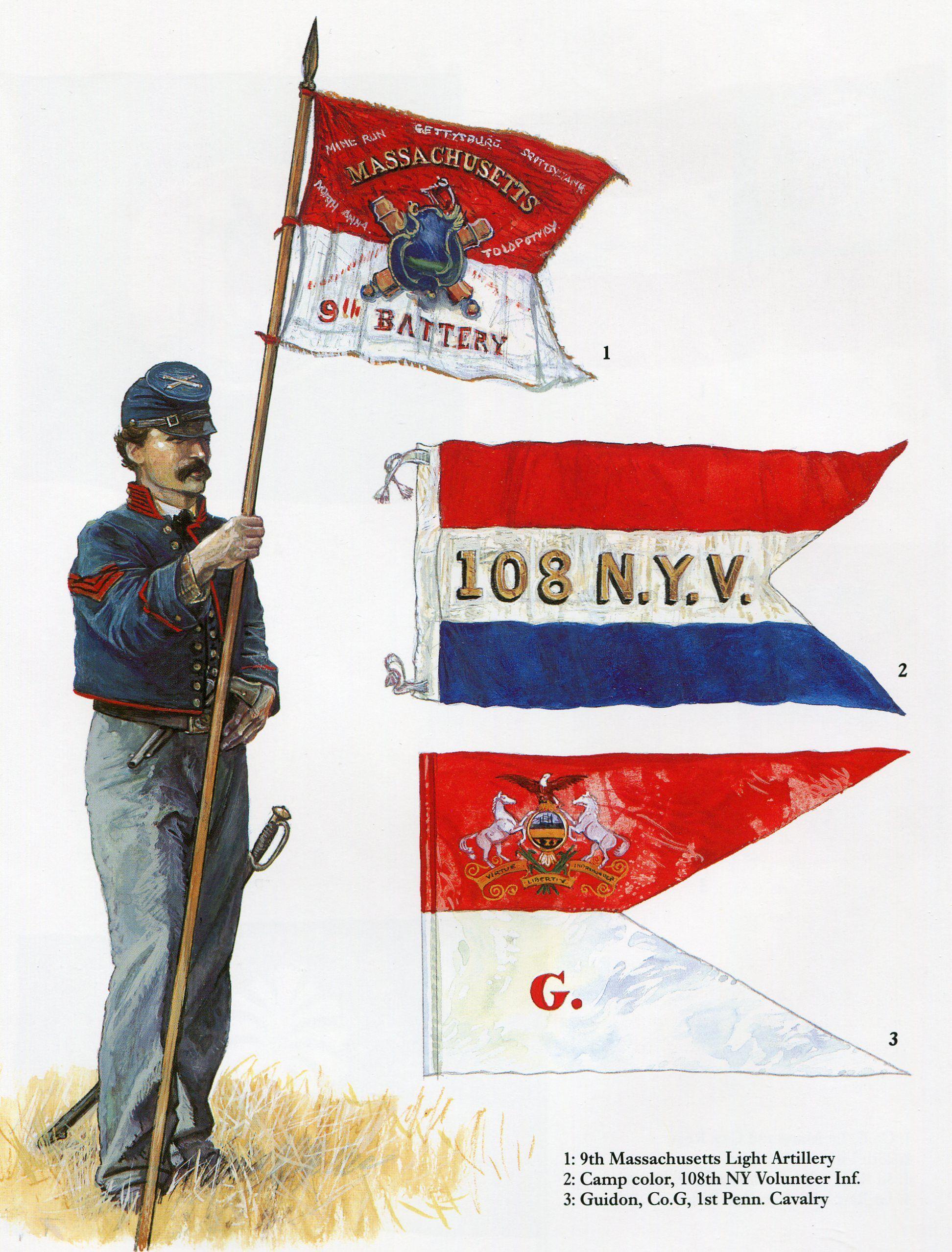 Northern Guidons: 1. 9th Battery, Massachuetts Light Artillery; 2 ...