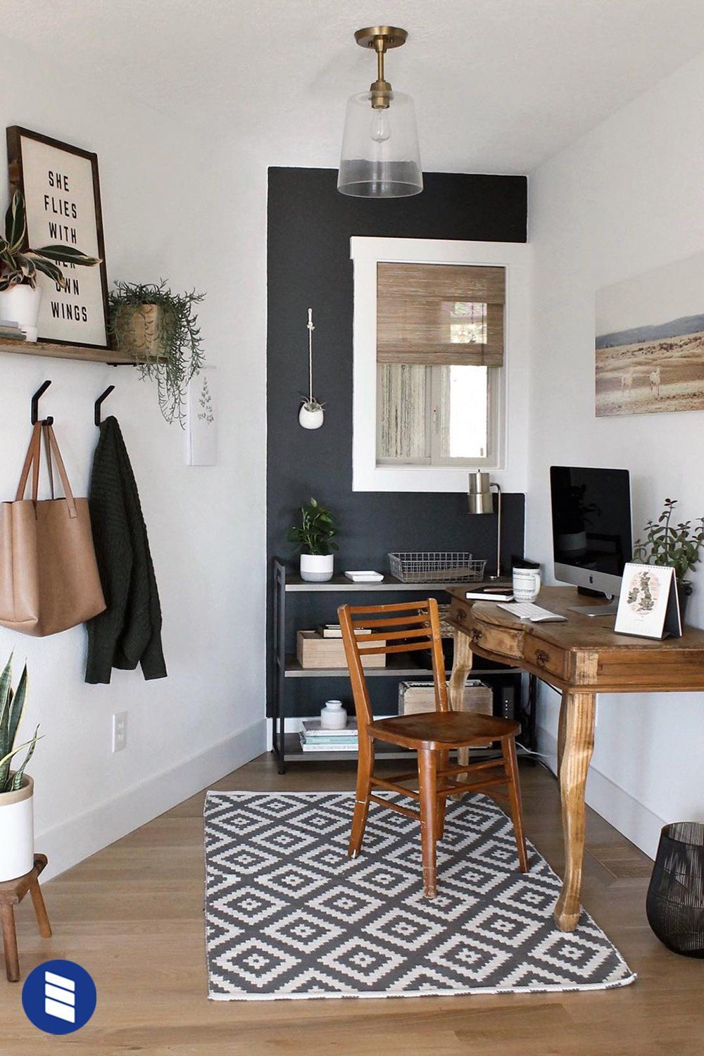 This Tiny Nook Office Is Still Big On Style Make Your Space Pop With A Dark Accent Wall Surrounded By Neutral Fixture Home Decor Office Nook Woven Wood Shades