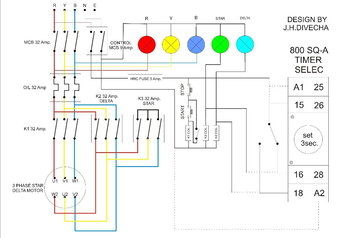 Star Delta With Timer Small Camera Pinterest Wiring Diagram Of Starter