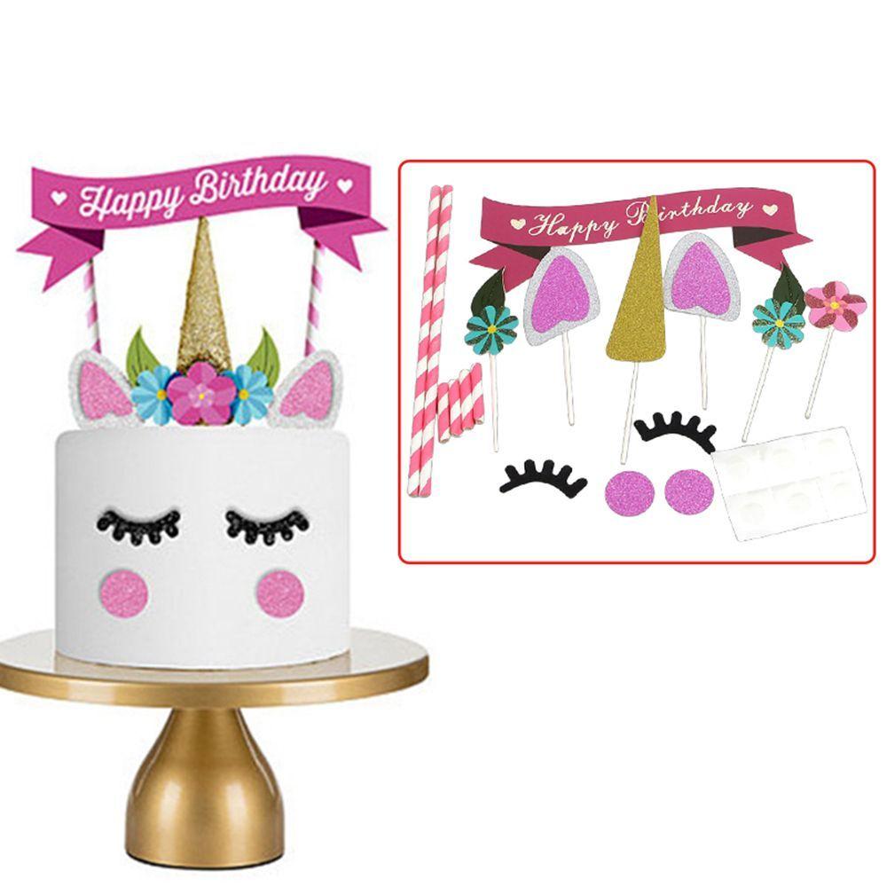 Nouveau 1 Set Main Rose Licorne Parti Cupcake Decoration Joyeux