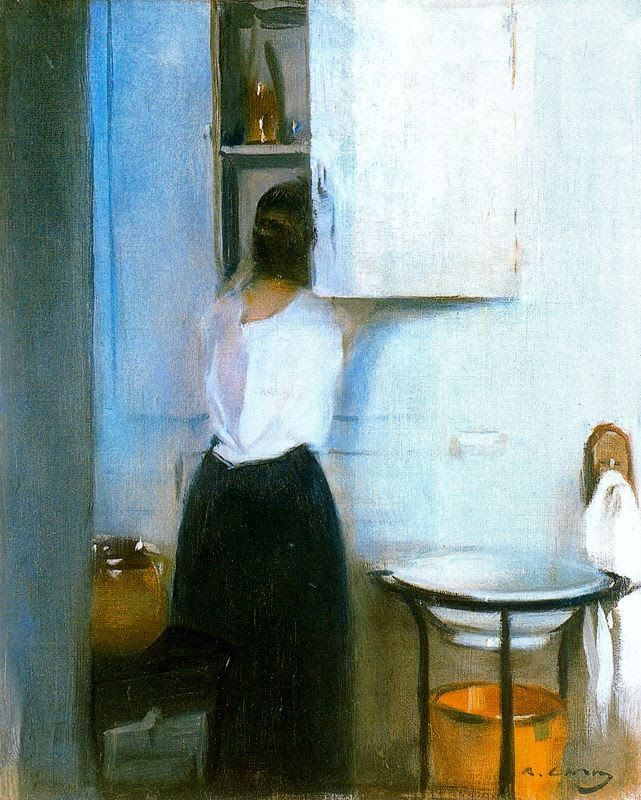 It's About Time: Woman Getting Ready to Meet the Day by Ramon Casas i Carbo (Spanish painter, 1866-1932)