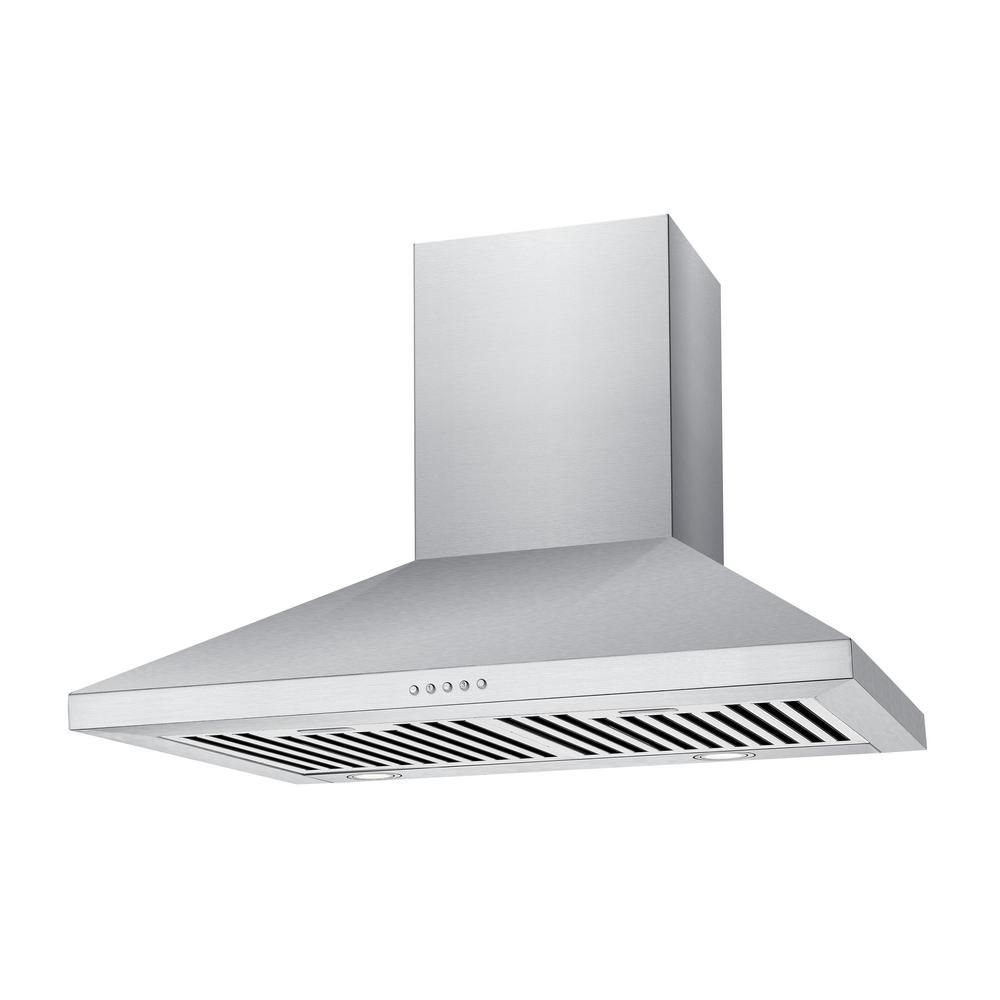 Chambers 36 In 500 Cfm Convertible Wall Mount Range Hood With Light In Stainless Steel Mvw206 36ss The Home Depot Wall Mount Range Hood Stainless Range Hood Steel Wall