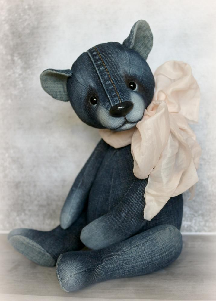Denim teddy by Furry Happiness on #teddybear