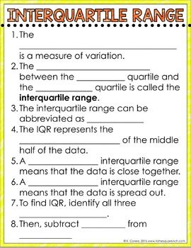 Interquartile Range Digital Math Notes | Middle school math | Math