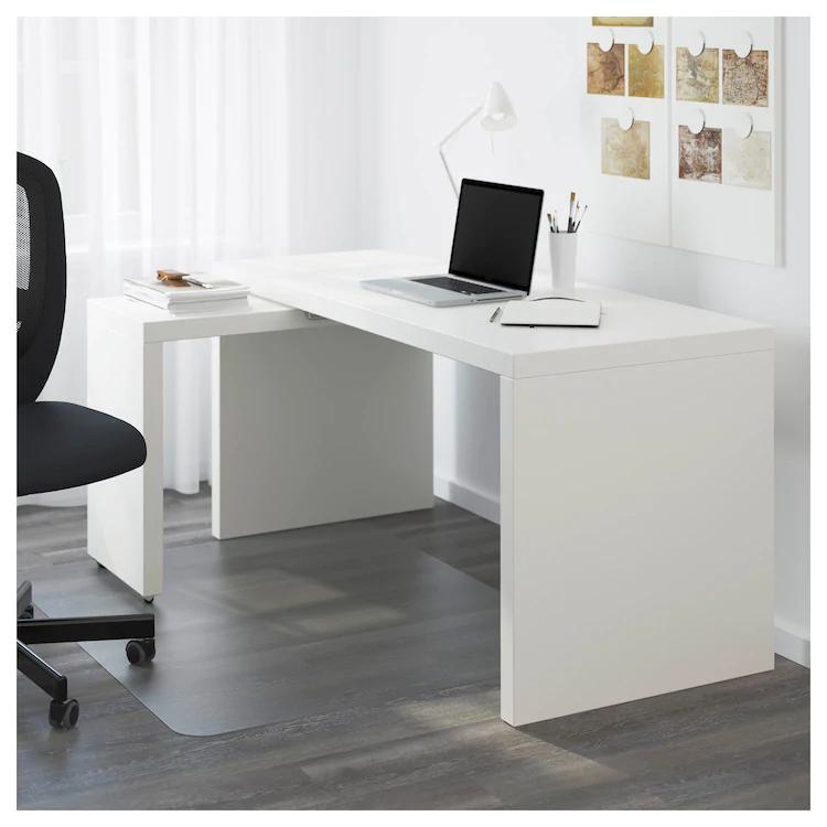Malm Bureau Avec Tablette Coulissante Blanc 151x65 Cm Ikea Boiserie Blanche Bureau Malm Malm