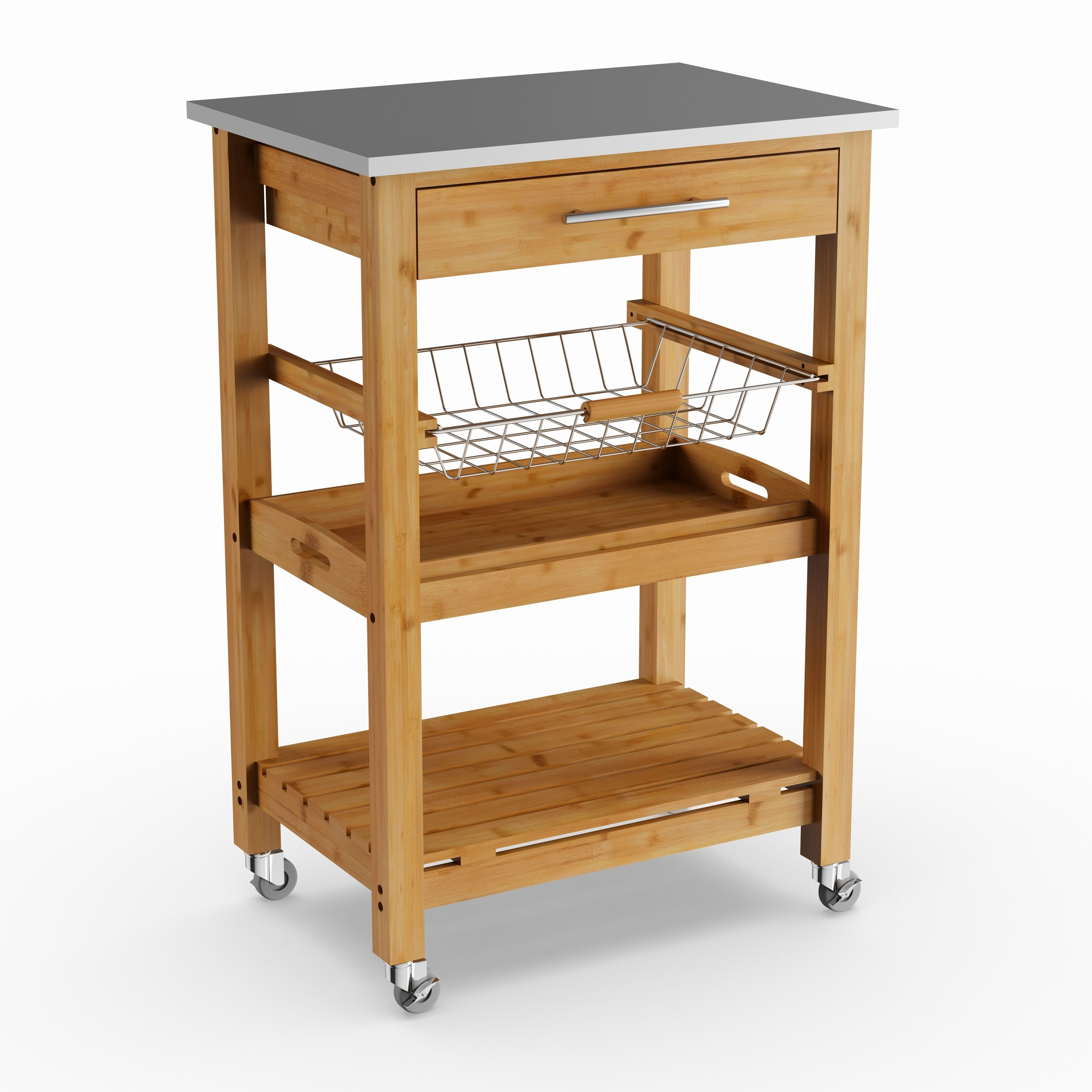 Havenside Home Surfside Bamboo Kitchen Cart With Stainless
