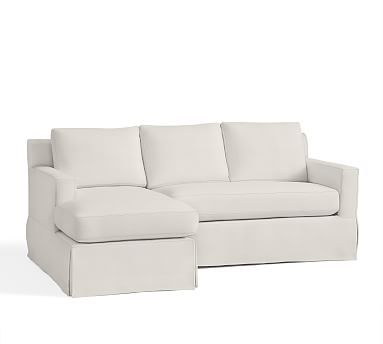 York Square Arm Right Arm Sofa With Chaise Sectional Slipcover, Organic  Cotton Basketweave Warm White