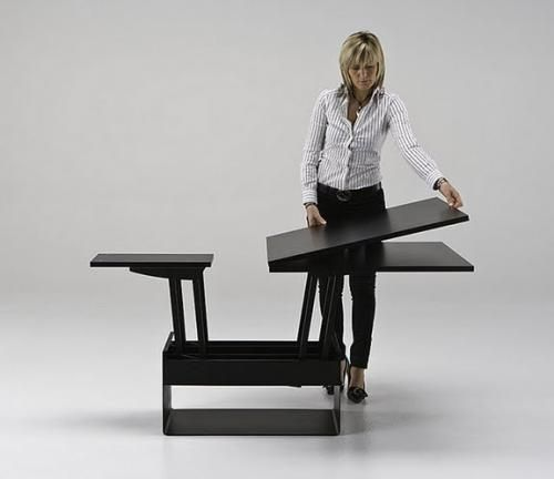 Coffee table turns into 6-8 person dining table. #Vela #Resource_Furniture #candice_olson