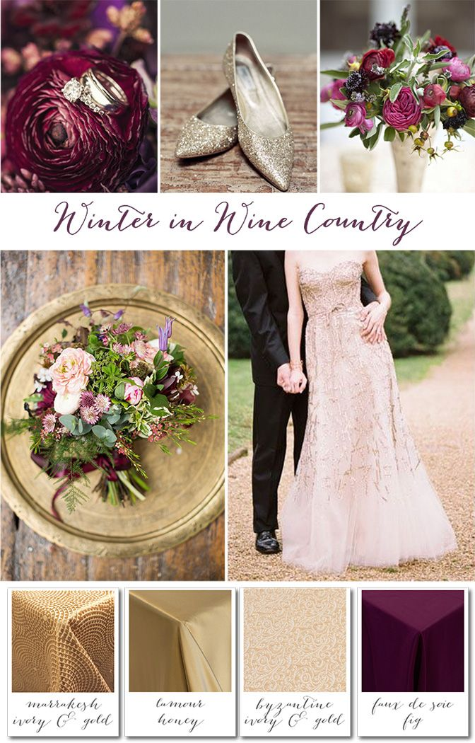 Winter in Wine Country Wedding Ideas - Rich Antique Golds and Plum Inspiration from Napa Valley Linens!