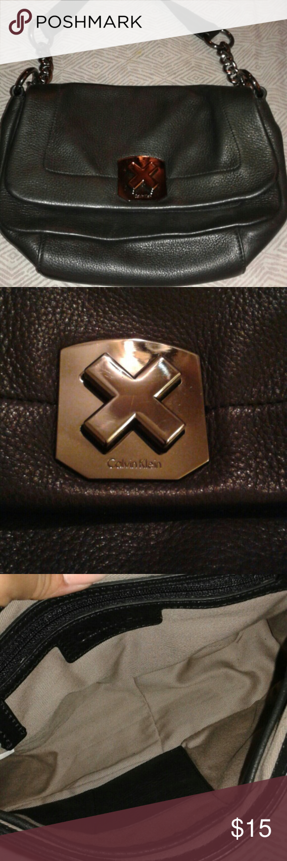 Calvin Klein bag Small purse.  Heavy due to chained sides.  Hardly used clean interior. Calvin Klein Bags Mini Bags