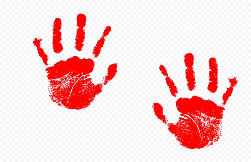 Hd Red Two Realistic Hand Print Png Print Png Realistic