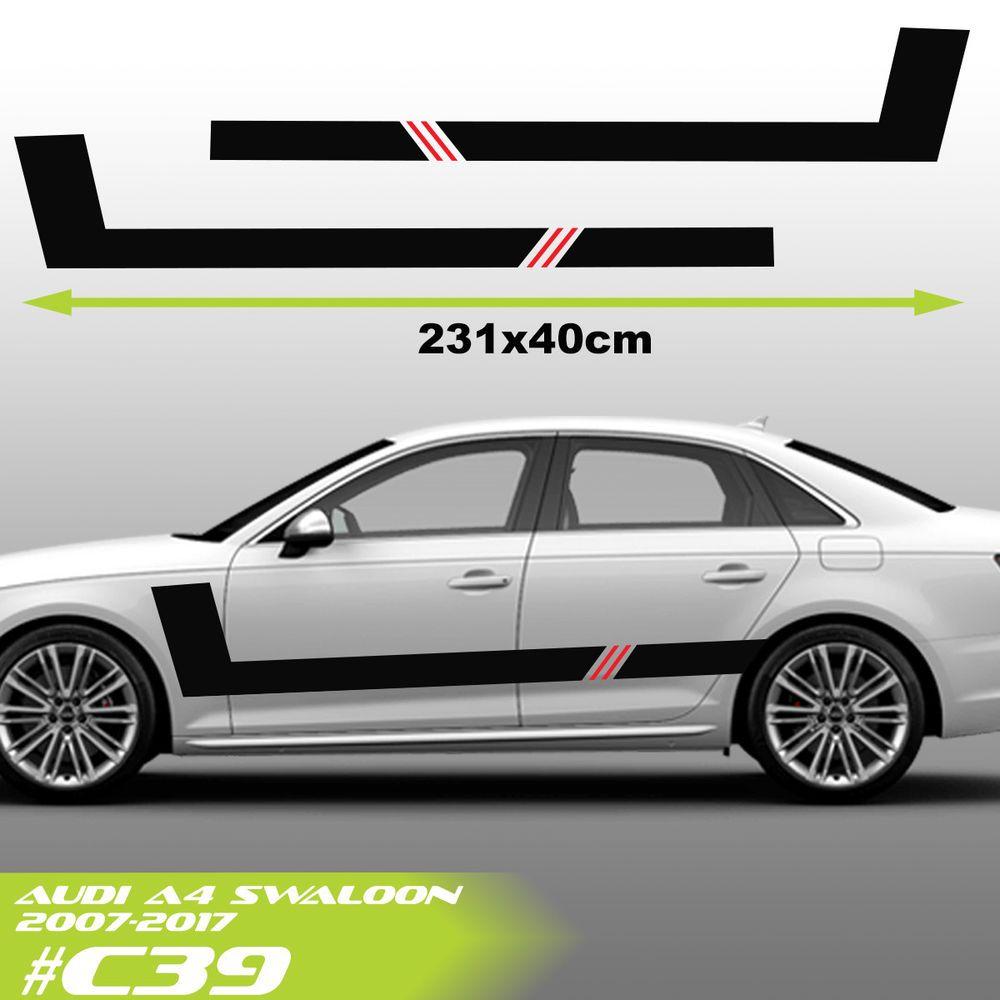Audi A4 Salunn Side Racing Stripes Car Stickers Vinyl Graphics Decal Wyc Car Stickers Car Sticker Design Racing Stripes [ 1000 x 1000 Pixel ]