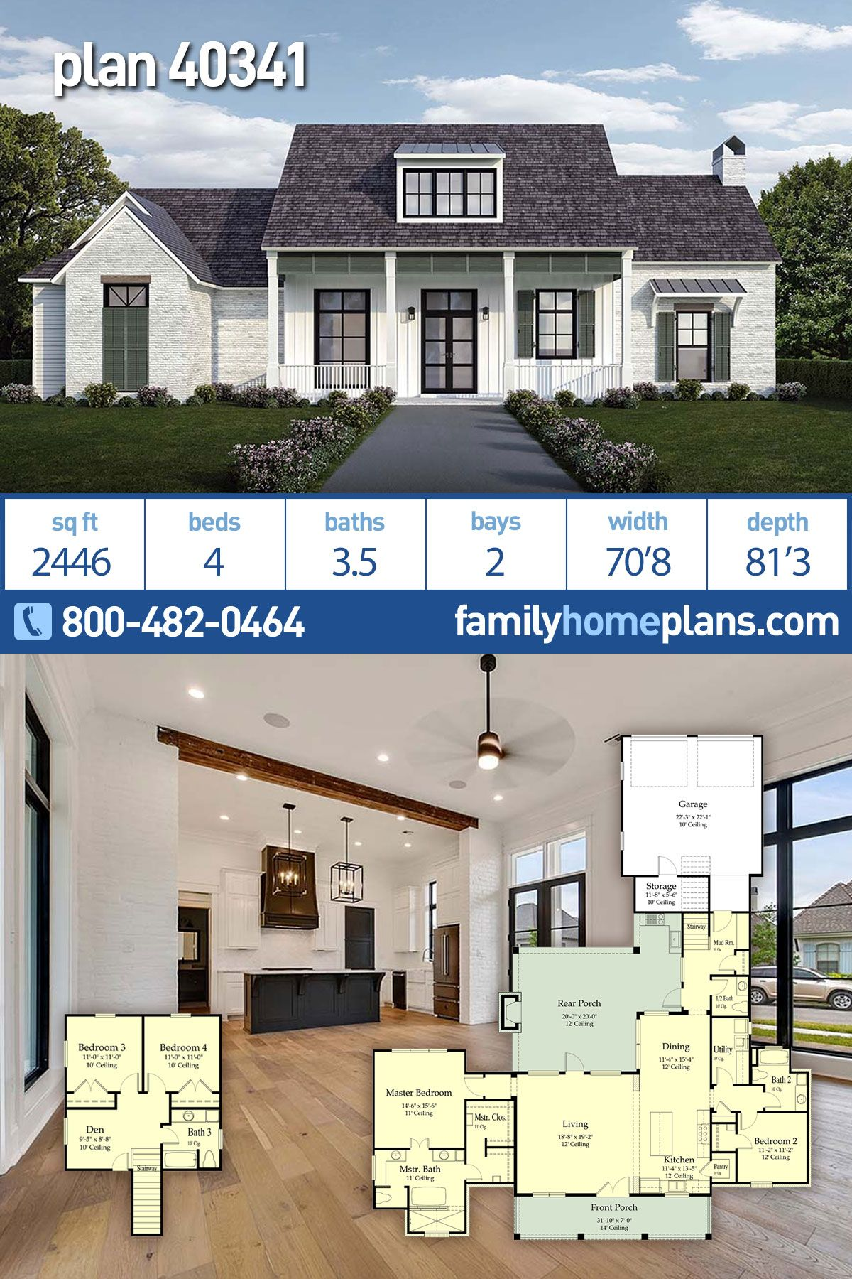 Southern Style House Plan 40341 With 4 Bed 4 Bath 2 Car Garage Country Style House Plans Porch House Plans Country House Plans