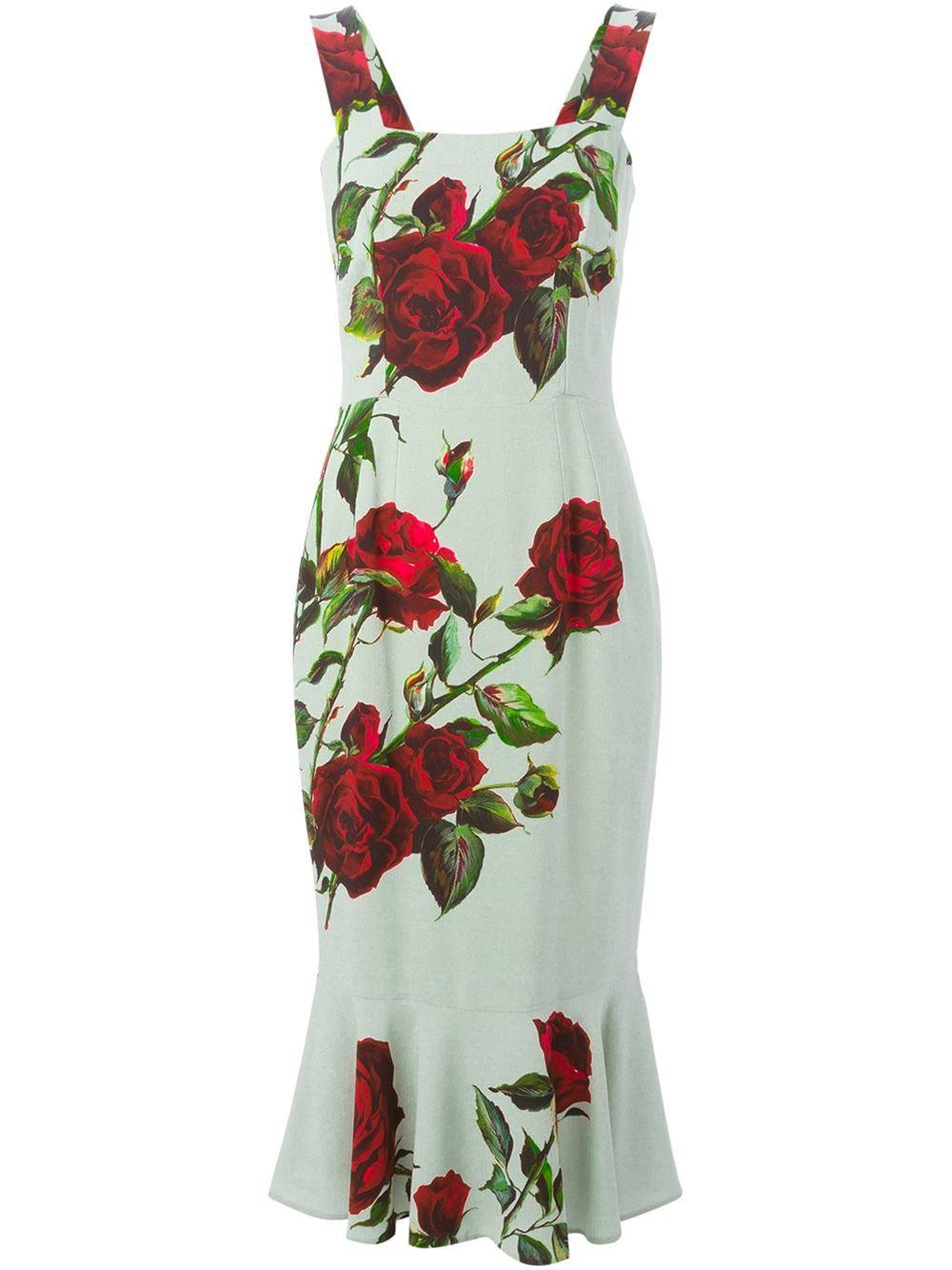 Dolce & Gabbana Enges Kleid Mit Rosen-print - Parisi - Farfetch