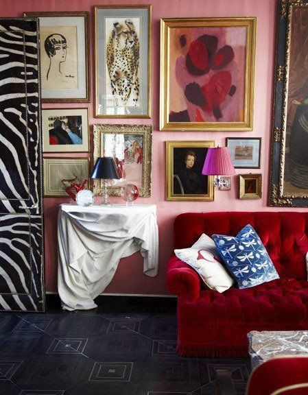 Fresh Color Combo Pink Red Red Couch Living Room Living Room