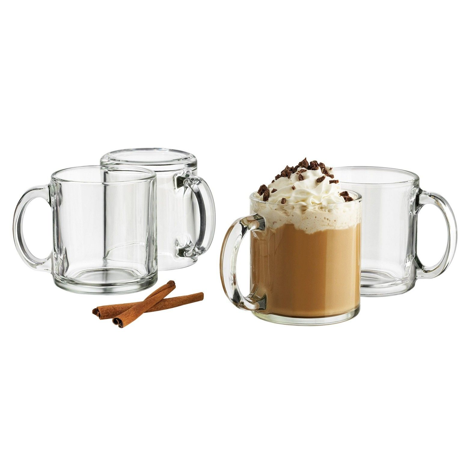 Libbey 13oz Robusta Mug 4pk Set Mugs, Mugs set, Clear