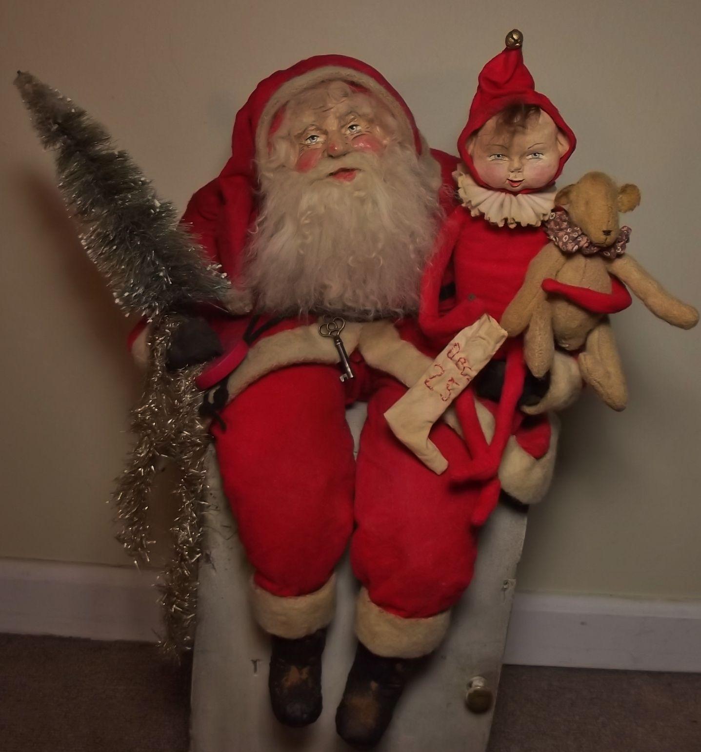 Handmade Santa Claus ~Elf & Bear By Kim Sweet~Kim's Klaus~Ooak Vintage Antique Christmas Folk Art Doll