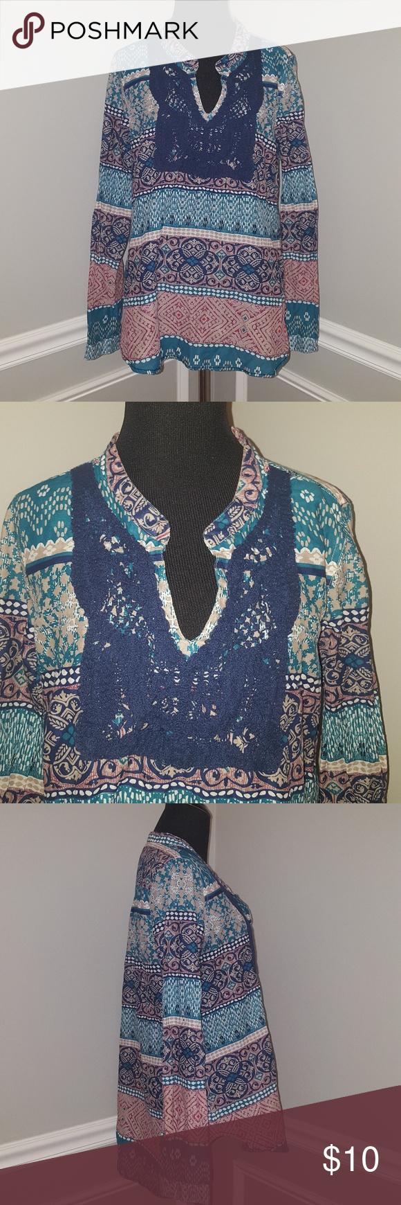 Emily Van Den Bergh Multicolor Crochet Tunic Top Emily Van Den Bergh Multicolor Crochet Tunic Top Size Xl Good Use Crochet Tunic Tops Crochet Tunic Tunic Tops