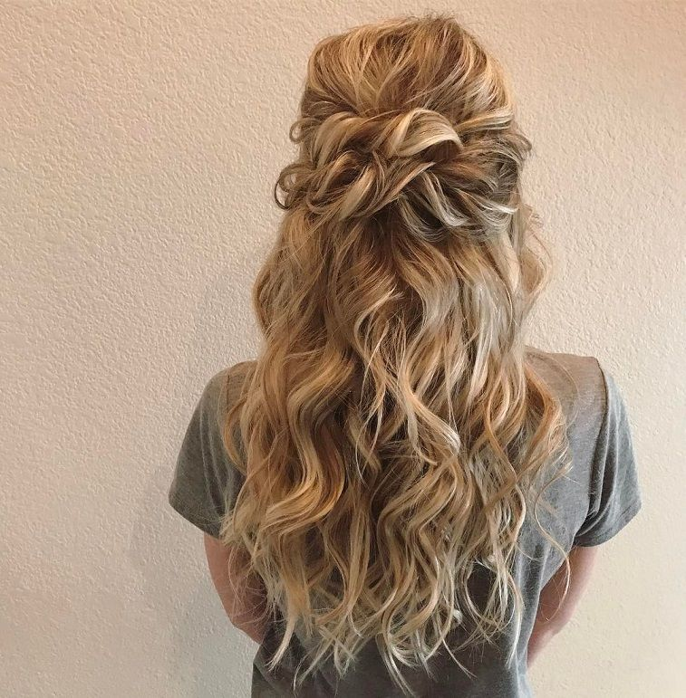 Half Up Half Down Braided Wedding Hairstyles: Beautiful Half Down Half Up Twisted Hairstyle With Curls
