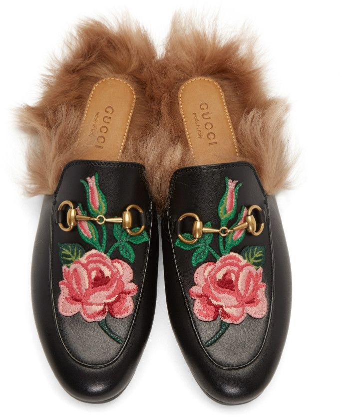 f973162d32a Gucci - Black Floral Princetown Slip-On Loafers