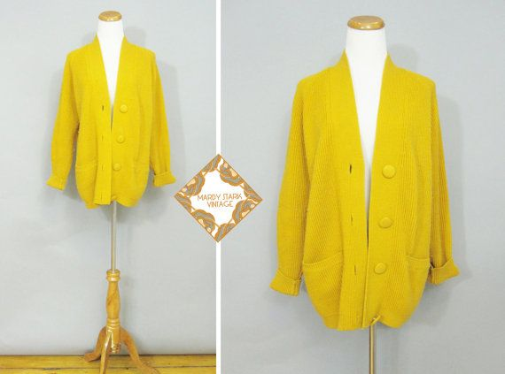 Vintage sweater / 80s oversized mustard cardigan / ribbed knit ...