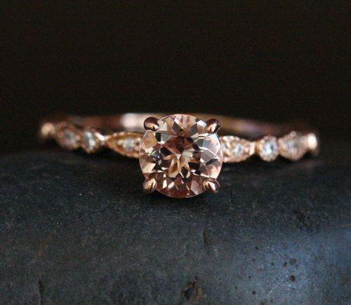 Morganite Ring Engagement Ring 14k Rose Gold Morganite Round 6mm