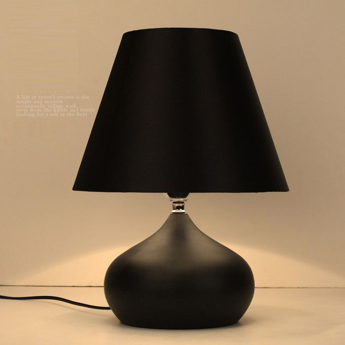 Modern simple nordic table lamp desk light bedside reading white red cloth shade