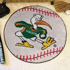Ncaa University Of Miami Baseball 27 In X 27 In Non Slip Indoor Only Mat Miami Baseball Baseball Rugs Team Colors
