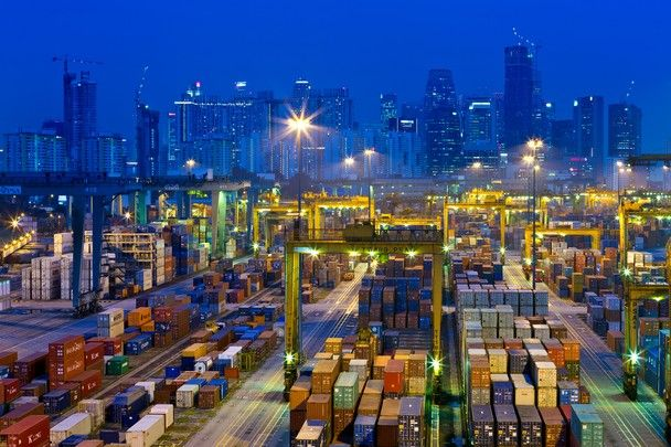Singapore, evening at Keppel Harbour container handling