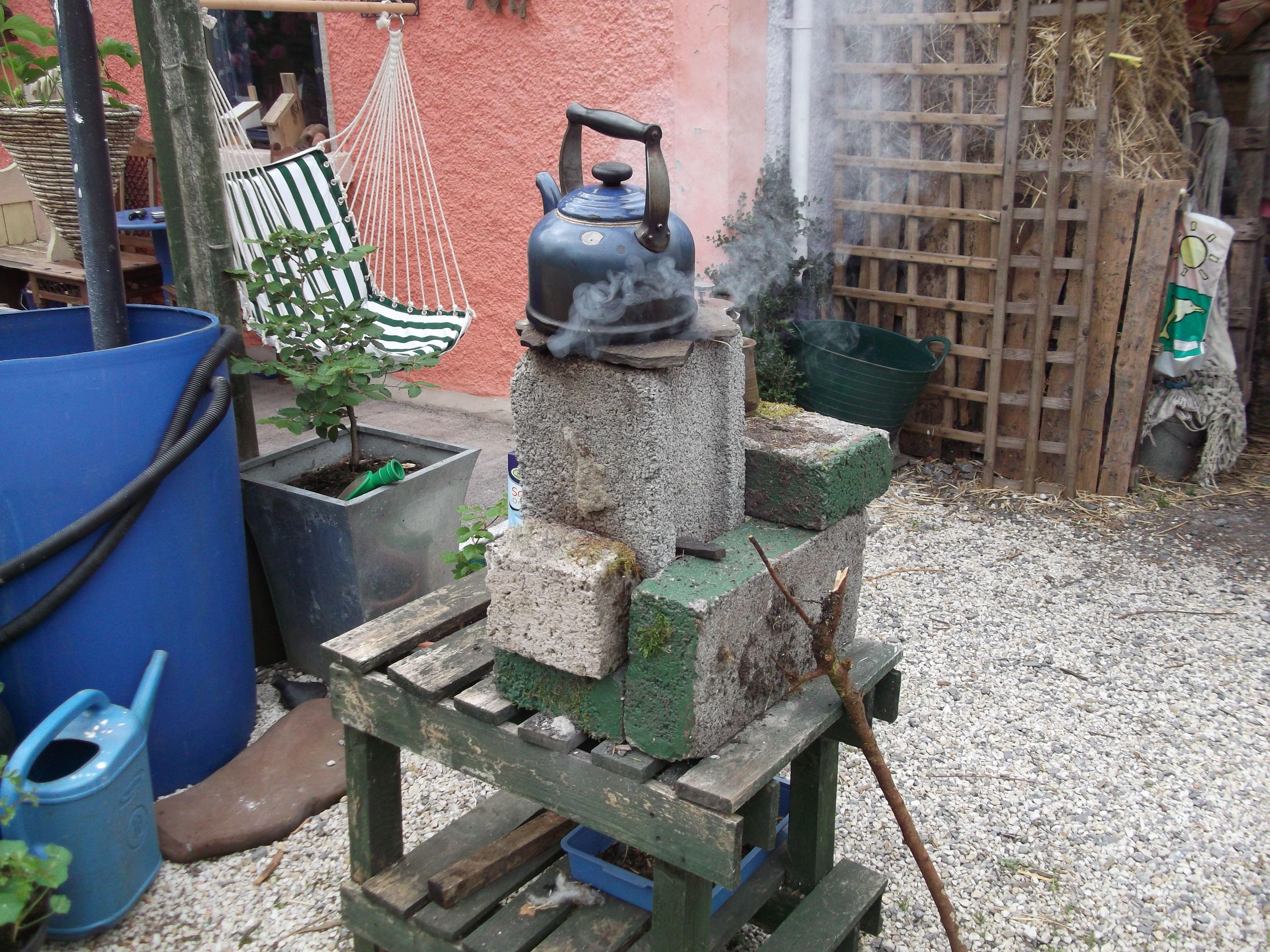 home made rocket stove using concrete blocks tea u0027s up
